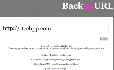 Create Archived Web Snapshots With BackUpURL