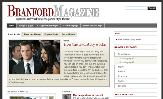 branford magazine Free WordPress News Themes to download